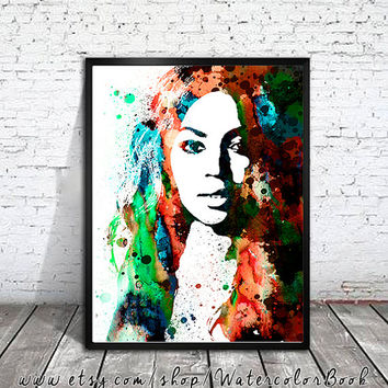 Beyonce Watercolour Painting Print, watercolor painting, watercolor art, Beyonce Illustration, Celebrity Portraits, Beyonce art