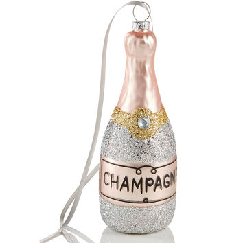 Holiday Lane Silver Glitter Champagne Bottle Ornament, Created for Macy's | macys.com