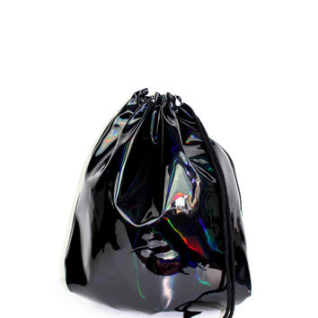 Holographic Laser Leather Black Gym Bag - hannisch