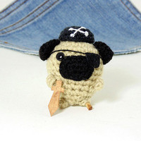 Amigurumi miniature Pug, crochet Pirate Pug! Ahoy! Crochet Pug. Stocking stuffer.