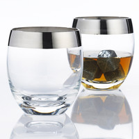 Silver Rim Whiskey Glasses - Set of 2