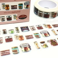 canned food gourmet washi tape 10M x 1.5 CM cooking party invitations decor tape sticker kitchen planner sticker cooking diary gift