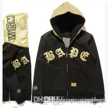 Good Quality America Popular Brand Men's Gold Leather Patchwork Hoodies Vintage Cardigan Jacket Winter Autumn Hooded Hoodies For Sale | Best Deal Online