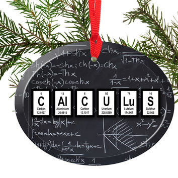 Calculus Periodic Table of Elements Glass Christmas Ornament