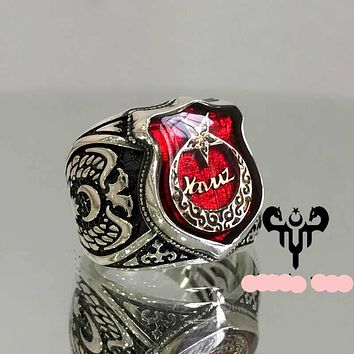 Customizable engraved crescent star shield red enamel sterling silver mens ring