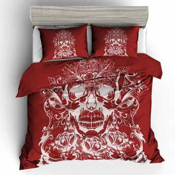 Fanaijia skulls duvet cover set king 3D red sugar skull Bedding Set with pillowcase AU Queen Bed bedline