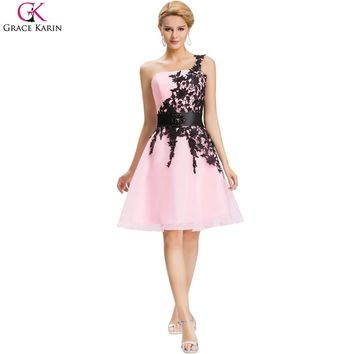 Short Cheap Bridesmaid Dresses Under $50 Grace Karin One Shoulder White Blue Pink Black Lace Knee Length Party Formal Dress 4288