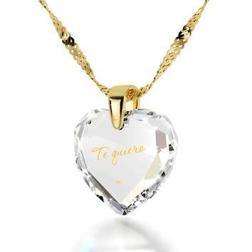 """I Love You"" in Spanish, 14k Gold Necklace, Cubic Zirconia"