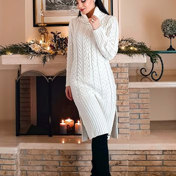 Warming Things Up Long Sleeve Cable Knit Ribbed Turtleneck Casual Midi Sweater Dress - 7 Colors Available
