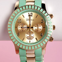 On Your Side Mint and Gold Watch