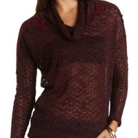 Cowl Neck Pullover with Crochet Accents by Charlotte Russe - Burgundy