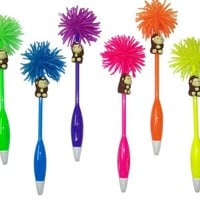 Inkology Lil Funky Munkey Pet Novelty Ball Point Pens, Medium Point, Black Ink, 4 Assorted Colors, 6 Pens per Pack (145-4)