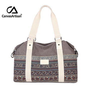 Canvasartisan women's vintage style hangbags tote multifunctional canvas bag travel hand luggage large capacticy shoulder bags