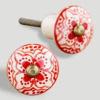 Red Basic Ceramic Floral Knob, Set of 2