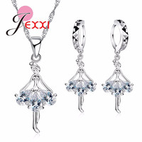 Elegant 925 Sterling Silver Ballerina Necklace Earrings Cubic Zirconia Necklaces Earring Set Wedding Engagement Jewelry Sets