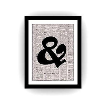 ampersand and, black and white, newspaper art, gift for lover, motivational quotes, family room, wedding, love sign, vintage retro, posters
