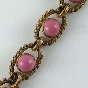 Vintage Pink Czech Glass Bracelet Art Deco Pink Stone & Gold Gilt Bracelet Antique Jewelry Estate Jewelry Wedding Bracelet Gift For Her