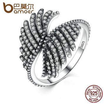 BAMOER 925 Sterling Silver PHOENIX FEATHER SILVER RING WITH CLEAR CUBIC Ring Women Engagement Fine Jewelry PA7193
