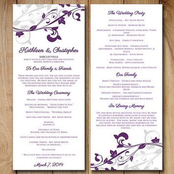 "Wedding Program Template Download Eggplant Purple Silver - ""Whimsical Vines"" Downloadable Wedding Tea Length Program"