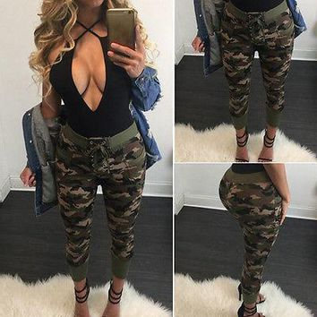 Women Lady Army Printed Camouflage Full Length Trousers Harem Pants Army Printed Camouflage pants