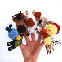 5 animal finger puppets, cow, cock, goat, horse and peacock, crocheted tiny wee domesticated animals, miniature farm animal, collectible