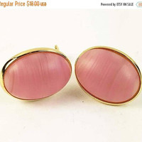 Pink Napier Earrings, Oval Clip Style Matte Finish, Gold Tone Vintage - Designer Signed
