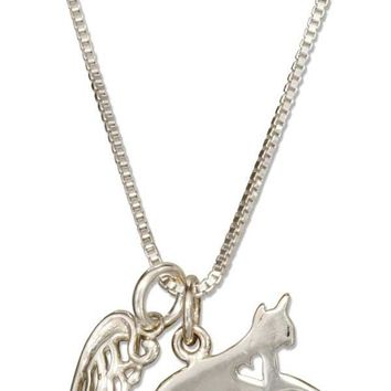"Sterling Silver 18"" Cat With Heart Cutout And Angel Wing Outline Pendant Necklace"