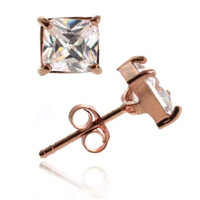 18K Rose Gold over Sterling Silver CZ Square Stud Earrings, 6mm