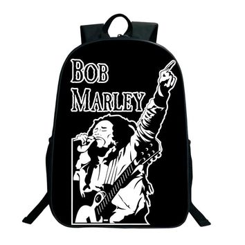 2018 Classic Music Star Reggae Bob Marley Character Printed Backpacks 16 Inch School Bags For Teenagers Children Shoulder Bags