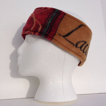 Reversible Wine theme fleece earwarmer, fleece headband, winter wear, ski headband