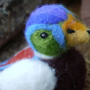 Needle felted duck. Needlefelt animal. Handmade. Soft sculpture. Bright coloured male duck.