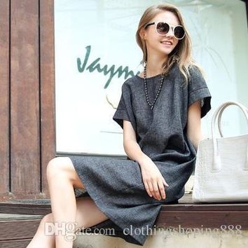 Spring and Summer Women's Large Size Loose Dress Female Plus Size Long Cotton and linen short-sleeved Temperament Dress