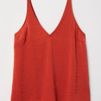 V-neck Satin Camisole Top - from H&M