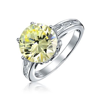Canary Yellow 3CT Solitaire AAA CZ Engagement Ring Sterling Silver
