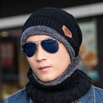 2017 Winter Unisex Beanie Hat Skullies Balaclava Women Men Knitted Thick Wool Warm Casual Cap Scarf Collar Set Chapeu Cappelli