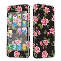 SkinGuardz Vinyl Decal Protective Sticker Skin for Apple iPhone 5 - (Black Rose Garden)
