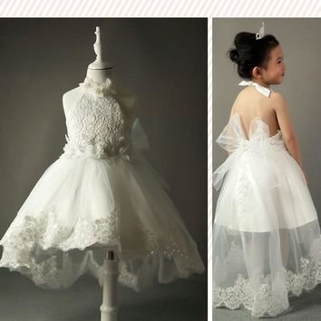 Ivory Flower Girl Dresses For Weddings Tulle Lace Flowers First Communion Dresses For Girls Birthday