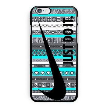Nike Just Do It On Aztec Mint Pattern iPhone 6 Plus Case