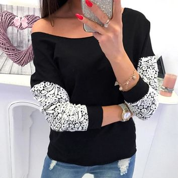 Lace Patchwork Women T-shirts Femme Long Sleeve Slash Neck Tees Tops Jumpers Autumn Sexy Off Shoulder Plus Size Pullovers M0096