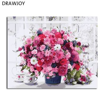 DRAWJOY Framed Flower DIY Painting By Numbers Wall Art DIY Canvas Oil Painting Home Decor For Living Room