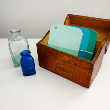 Vintage Wood Box with Hinged Lid, Dovetails and Great Patina