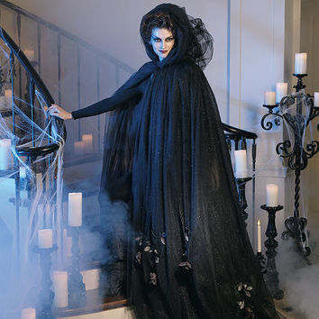 Black Tulle Cloak with Dead Roses Costume