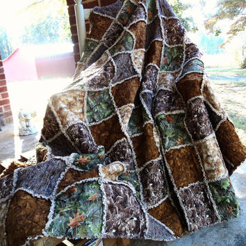Made To Order handmade Rag Quilt Deer Buck Doe Hunters Blanket Pheasant wood & Camo print