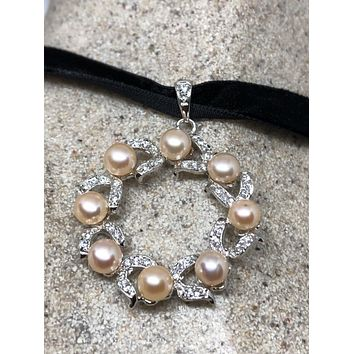 Vintage Handmade 925 Sterling Silver gold Rhodium white Sapphire Pearl choker necklace