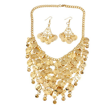 FM4019 KC Gold Plated Indian Style Jewelry Set Bling Bling Necklace Earrings Set For Dancing Free Shipping