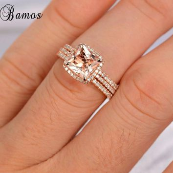 Bamos 3pcs/Set New Fashion Female Rose Gold Finger Ring Cute Romantic Wedding Ring Set Promise Rings For Couple