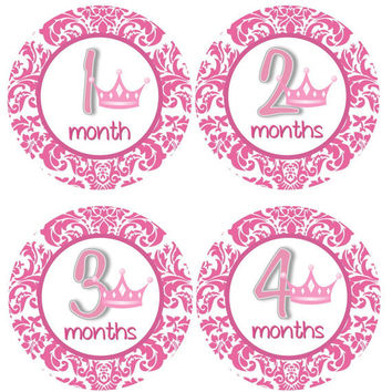 Monthly Onesuit Stickers Girl Baby Month Stickers Hot Pink Crown Princess Monthly Onesuit Sticker Girl Baby Shower Gift Photo Prop -Annie3