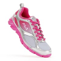 FILA Grey Memory Stride Pink Ribbon Running Shoes - Women