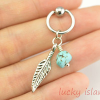 Earring,turquoise Tragus Earring Jewelry,Turquoise Cartilage Hoop Silver Feather Earring, Helix Cartilage jewelry