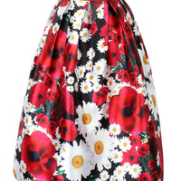 Multicolor Floral Print High Waist Skater Midi Skirt